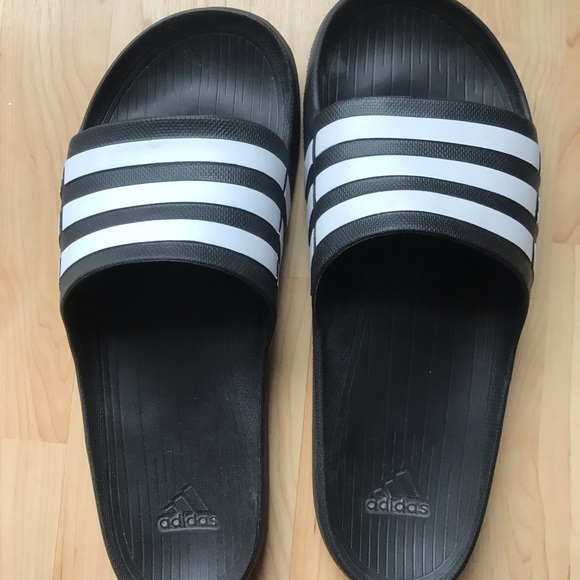 7560be7a3c47 adidas Other - Adidas Men s Size 12 Black White Slip On Sandals
